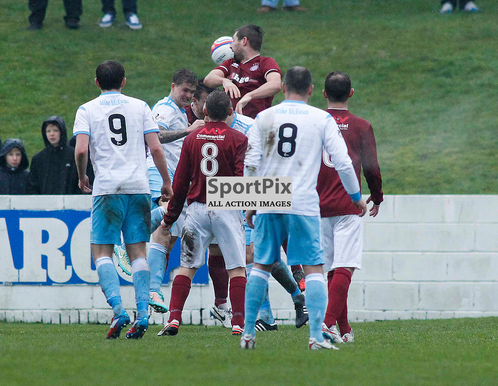 Michael Travis head Forfar into a 1-0 lead midway through the first half<br /> During the William Hill Scottish Cup match at Prestonfield Linlithgow