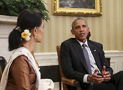 September 14, 2016 - Washington, District of Columbia, United States of America - United States President Barack Obama holds a bilateral meeting with State Counsellor Aung San Suu Kyi of Myanmar (Burma) in the Oval Office of the White House on September 14, 2016 in Washington, DC. .Credit: Aude Guerrucci / Pool via CNP (Credit Image: © Aude Guerrucci/CNP via ZUMA Wire)