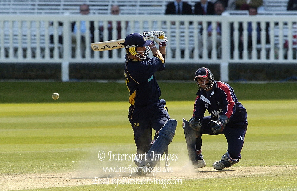 2005 Totesport League, Middlesex Crusader vs Hampshire Hawks at Lords, ENGLAND, 15.05.2005, batsman Kevin Pietersen and keeper Ben Scott, in to some body contortions as Pietersen miss times his strike..Photo  Peter Spurrier. .email images@intersport-images...