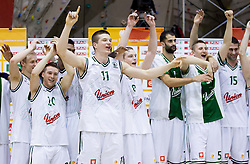 Sasu Salin, Jan Mocnik, Dino Muric, Jaka Blazic, Boris Rothbart, Gezim Morina and Vladimir Dasic of Olimpija celebrate after winning the basketball match between KK Union Olimpija Ljubljana and KK Krka Novo mesto of finals of 11th Slovenian Spar Cup 2012, on February 19, 2012 in Sports hall Brezice,  Brezice, Slovenia. Union Olimpija defeated Krka 68-63 and became Slovenian Cup Champion 2012. (Photo By Vid Ponikvar / Sportida.com)