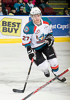 KELOWNA, CANADA, JANUARY 1: Jesse Astles #27 of the Kelowna Rockets skates on the ice as the Calgary Hitmen visit the Kelowna Rockets on January 1, 2012 at Prospera Place in Kelowna, British Columbia, Canada (Photo by Marissa Baecker/Getty Images) *** Local Caption ***