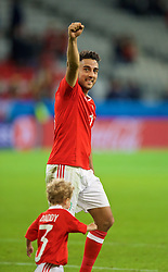 LILLE, FRANCE - Friday, July 1, 2016: Wales' Neil Taylor celebrates after a 3-1 victory over Belgium and reaching the Semi-Final during the UEFA Euro 2016 Championship Quarter-Final match at the Stade Pierre Mauroy. (Pic by David Rawcliffe/Propaganda)