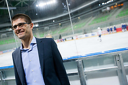 Matjaz Rakovec, president of HZS during first practice session of Slovenian National Ice Hockey team in Arena Stozice before 2012 IIHF World Championship DIV I Group A in Slovenia, on April 13, 2012, in Arena Stozice, Ljubljana, Slovenia. (Photo by Vid Ponikvar / Sportida.com)