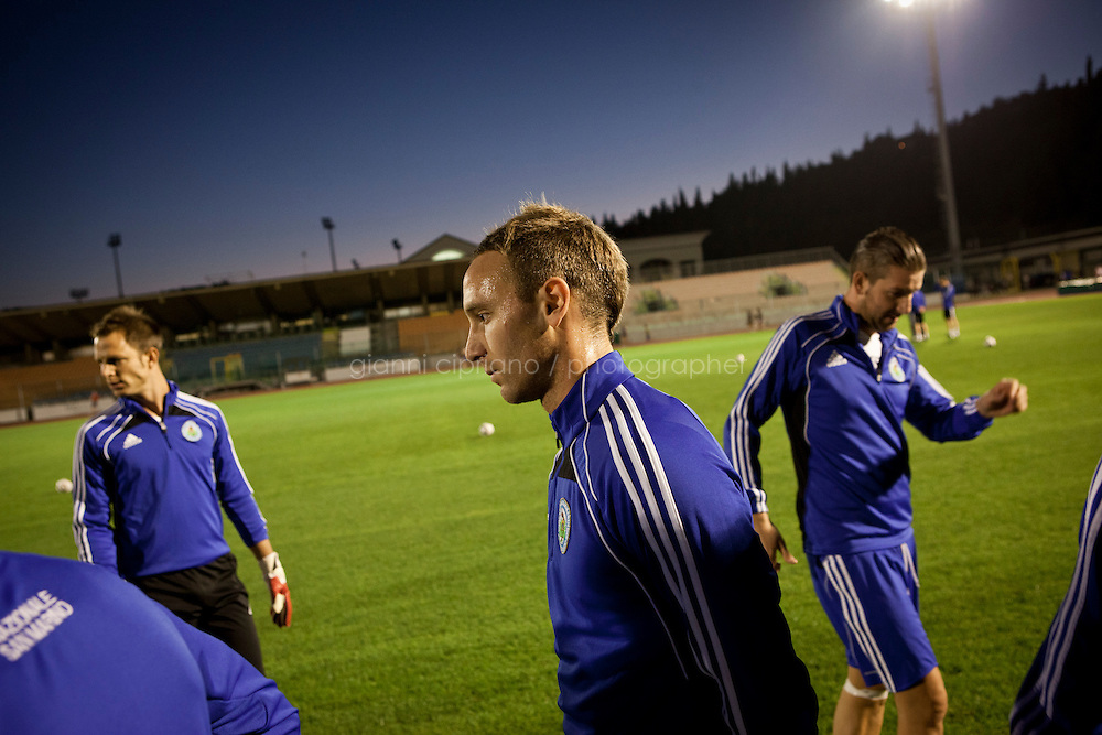 SERRAVALLE, SAN MARNO - 3 OCTOBER 2011:  The San Marino national soccer team trains at the Olympic Stadium before the upcoming and last Euro 2012 qualification game against Moldova on October 11, in San Marino on October 3, 2011. The San Marino national football team is the last team in the FIFA  World Ranking (position 203). San Marino, whose population reaches 30,000 people, has never won a game since the team was founded in 1988. They have only ever won one game, beating Liechtenstein 1&ndash;0 in a friendly match on 28 April 2004. The Republic of San Marino, an enclave surronded by Italy situated on the eastern side of the Apennine Moutanins, is the oldest consitutional republic of the world<br /> <br /> <br /> ph. Gianni Cipriano