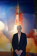 Garden City, New York, U.S. June 6, 2019. Apollo 9 astronaut RUSTY SCHWEICKART  poses in front of mural of Apollo 11 blast off mural during Cradle of Aviation Museum's Apollo Astronauts Press Conference during its day of events celebrating 50th Anniversary of Apollo 11.