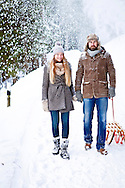 Man, Woman, Sled, Snowfall, Winter, Vacations