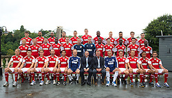 Bristol City line up for their team photo with sponsor Wessex Garages (Back row l-r; Chris Abbott, Liam Fontaine, Marvin Elliot, Derrick Williams, James Wilson, Aden Flint, Jay Emmanuel-Thomas, Ryan Taylor, Aaron Amdi-Holloway, Luke Dobie, Mitch Brundle. Middle row l-r; Rhys Jordan, Scott Wagstaff, Brendan Moloney, Jordan Wynter, Stephen Pearson, Frankie Fielding, Elliot Parish, Kevin Krans, Greg Cunningham, Albert Adomah,  Jack Batten, Toby Ajala. Front row l-r: Tom King, Wes Burns, Joe Bryan, Louis Carey, Sam Baldock, Sean O'Driscoll, Keith Brock, Steve Patch, John Pemberton, Neil Kilkenny, Liam Kelly, Bobby Reid, Lewis Hall) - Photo mandatory by-line: Kieran McManus/JMP - Tel: Mobile: 07966 386802 31/07/2013 - SPORT - FOOTBALL - Avon Gorge Hotel - Clifton Suspension bridge - Bristol -  Team Photo