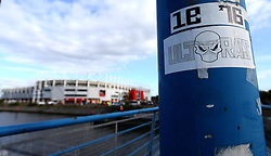 Stickers left on lamp posts outside The Riverside Stadium home of Middlesbrough - Mandatory by-line: Robbie Stephenson/JMP - 26/04/2017 - FOOTBALL - Riverside Stadium - Middlesbrough, England - Middlesbrough v Sunderland - Premier League
