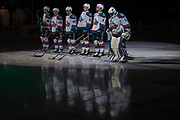KELOWNA, CANADA - MARCH 24:  Starting line up James Porter #1 of the Kelowna Rockets, Gordie Ballhorn #4 of the Kelowna Rockets, Kaedan Korczak #6 of the Kelowna Rockets, Carsen Twarynski #18 of the Kelowna Rockets, Dillon Dube #19 of the Kelowna Rockets, Liam Kindree #26 of the Kelowna Rockets at the Kelowna Rockets game on March 24, 2018 at Prospera Place in Kelowna, British Columbia, Canada.  (Photo By Cindy Rogers/Nyasa Photography,  *** Local Caption ***