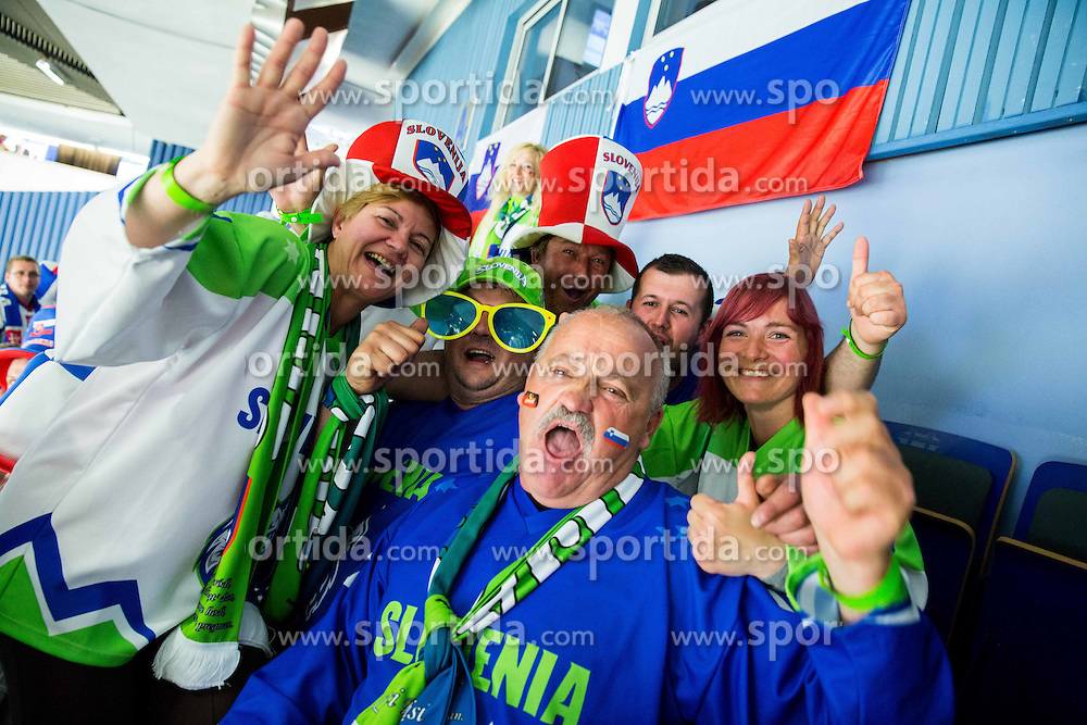 Slovenian fans prior to the Ice Hockey match between Slovakia and Slovenia at Day 5 in Group B of 2015 IIHF World Championship, on May 5, 2015 in CEZ Arena, Ostrava, Czech Republic. Photo by Vid Ponikvar / Sportida