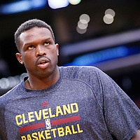 14 January 2014: Cleveland Cavaliers small forward Luol Deng (9) warms up prior to the Cleveland Cavaliers 120-118 victory over the Los Angeles Lakers at the Staples Center, Los Angeles, California, USA.