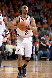 Virginia Cavaliers guard J.R. Reynolds (2) in action against the Miami Hurricanes Men's Basketball Team.  The University of Virginia Cavaliers defeated the Miami Hurricanes Men's Basketball Team 81-70 at the John Paul Jones Arena in Charlottesville, VA on February 3, 2007.