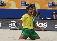 Footbal-FIFA Beach Soccer World Cup 2006 -  Oficial Games BRA x JPN -Bruno celebrates the Goal- Brazil - 05/11/2006.<br />Mandatory Credit: FIFA/Ricardo Ayres