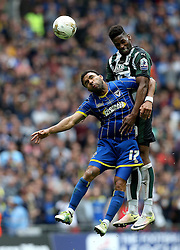 Jamille Matt of Plymouth Argyle beats Andy Barcham of AFC Wimbledon to a header - Mandatory by-line: Robbie Stephenson/JMP - 30/05/2016 - FOOTBALL - Wembley Stadium - London, England - AFC Wimbledon v Plymouth Argyle - Sky Bet League Two Play-off Final