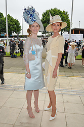 Left to right, ALEXANDRA STRUDWICK and her mother BELINDA STRUDWICK at the Investec Derby at Epsom Racecourse, Epsom, Surrey on 4th June 2016.
