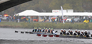 Cambridge, USA, Youth women' eights,   Martime RC pass West Side RC after passing under the John Weeks footbridge during the  2009 Head of the Charles  Sunday  18/10/2009  [Mandatory Credit Peter Spurrier Intersport Images],.