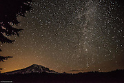 Milky Way and Mt Rainier from Reflection Lake.