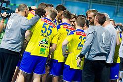 Players of RK Celje Pivovarna Lasko during handball match between RK Celje Pivovarna Lasko vs RK Gorenje Velenje of Super Cup 2015, on August 29, 2015 in SRC Marina, Portoroz / Portorose, Slovenia. Photo by Urban Urbanc / Sportida