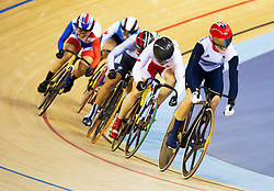 British track cyclist Victoria Pendleton (red Hat) wins Gold in the inaugural women's keirin with a thrilling sprint to the line in the 2012 London Olympic games, Friday August 3, 2012  Photo By i-Images