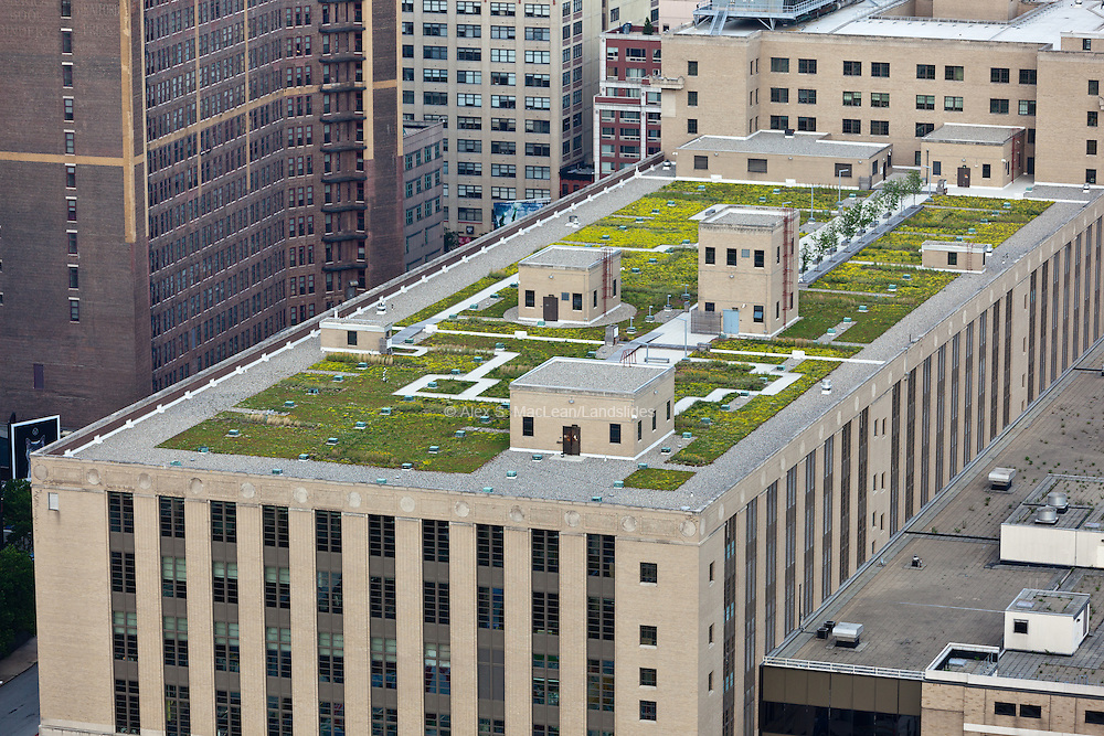 Morgan Mail Processing Facility ,341 9th Avenue, Chelsea, Manhattan, NY 10009,40.751195,-73.999979, The green roof, atop the Morgan mail processing facility, covers 109,000 square feet, or nearly 2.5 acres. During construction, approximately 90 percent of the original roof was recycled and reused on the new roof. The green roof is the largest in New York City, and is one of the Postal Service's largest environmental projects to date. It will last 50 years, twice as long as the roof it replaced, and is part of the Postal Service's greener facilities strategy.