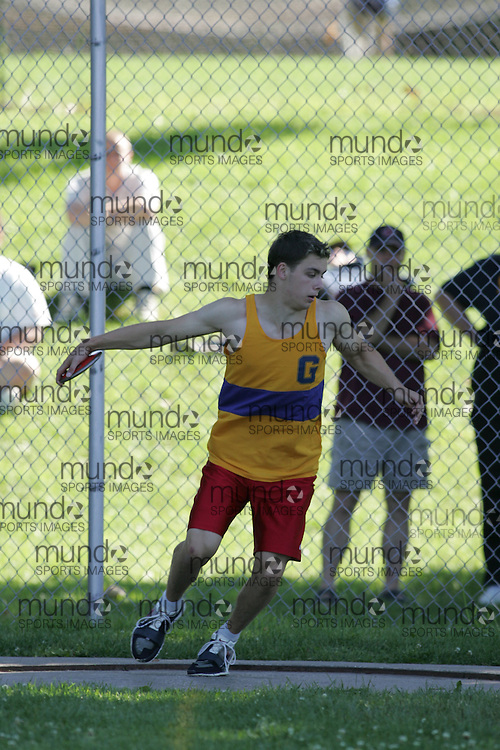 Brandon MacIntosh competing in the discus at the 2007 Ontario Legion Track and Field Championships. The event was held in Ottawa on July 20 and 21.