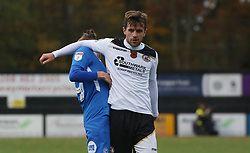 Frankie Raymond of Bromley elbows George Cooper of Peterborough United and is sent-off - Mandatory by-line: Joe Dent/JMP - 10/11/2018 - FOOTBALL - Hayes Lane - Bromley, England - Bromley v Peterborough United - Emirates FA Cup first round proper