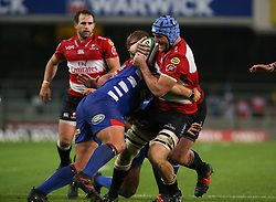 Lourens Erasmus of the Emirates Lions is tackled during the first half of the Vodacom Super Rugby match between the DHL Stormers and the Emirates Lions at DHL Newlands in Cape Town, South Africa, Saturday May 26 2018. <br /> (Roger Sedres/ANA)