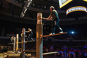 Harry Burnsworth (on right) competes during the springboard competition at the Stihl Timbersports Championships at The Norfolk Scope in Norfolk, Virginia on June 20, 2014.