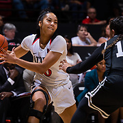 09 November 2018: San Diego State Aztecs guard Kennedi Villa (0) looks to pass the ball while being defended by Hawaii Warriors guard Tia Kanoa (11) in the fourth quarter. The Aztecs opened up it's regular season schedule with a 58-57 win over Hawaii Friday at Viejas Arena.