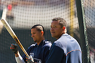 Miguel Cabrera #24 of the Detroit Tigers looks on during batting practice before a game against the Minnesota Twins on April 3, 2013 at Target Field in Minneapolis, Minnesota.  The Twins defeated the Tigers 3 to 2.  Photo: Ben Krause