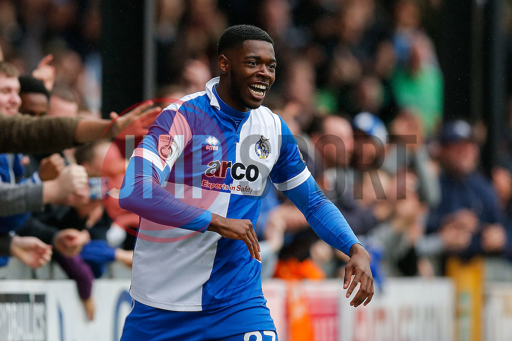 Nathan Blissett of Bristol Rovers celebrates after Ellis Harrison scores a goal - Photo mandatory by-line: Rogan Thomson/JMP - 07966 386802 - 03/04/2015 - SPORT - FOOTBALL - Bristol, England - Memorial Stadium - Bristol Rovers v Chester - Vanarama Conference Premier.
