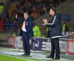CARDIFF, WALES - Friday, November 13, 2015: Wales' manager Chris Coleman during the International Friendly match against the Netherlands at the Cardiff City Stadium. (Pic by David Rawcliffe/Propaganda)
