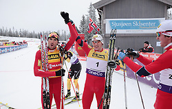 25.11.2012, Langlaufstrecke, Lillehammer, NOR, FIS Nordische Kombination Weltcup, Penalty Race, im Bild Magnus Moan (NOR) and Klemetsen Haavard (NOR) during Penalty Race of FIS Nordic Combined Worldcup at the Cross Country Course, Lillehammer, Norway on 2012/11/25. EXPA Pictures © 2012, PhotoCredit: EXPA/ Federico Modica