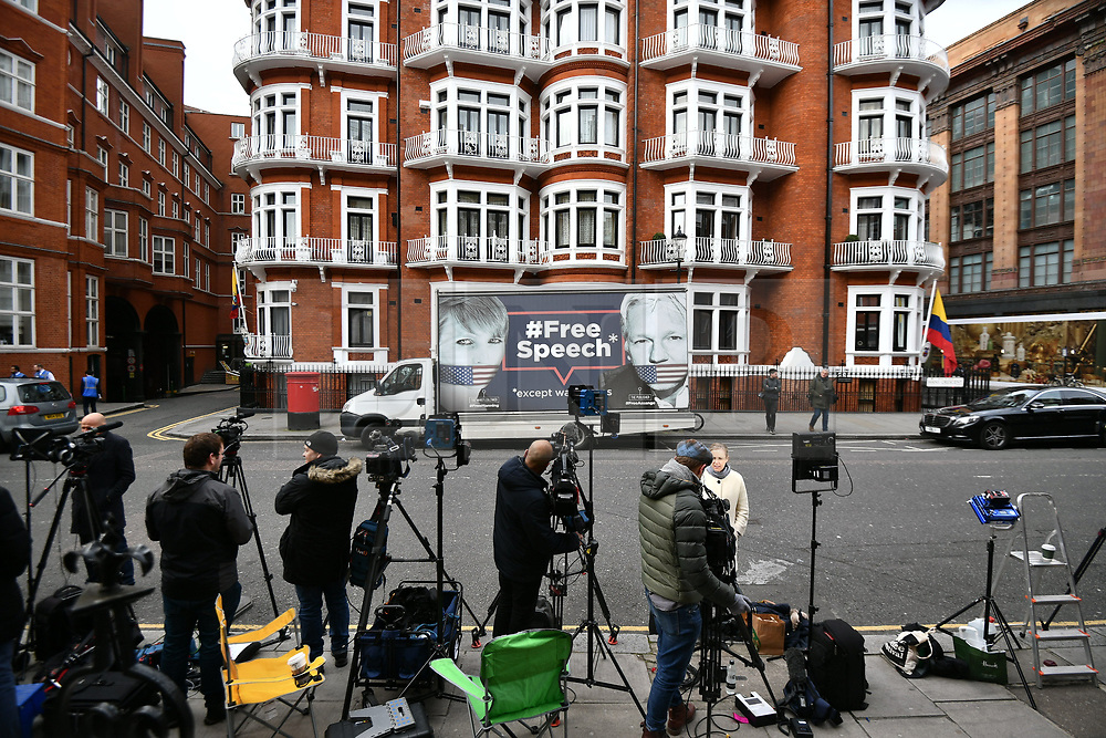 © Licensed to London News Pictures. 05/04/2019. London, UK. Media outside the Ecuador Embassy in London where the Wikileaks founder Julian Assange has been living since 2012. It has be reported that Assange is due to be thrown out of the embassy. Swedish authorities recently dropped their investigation into rape allegations against Assange. Photo credit: Ben Cawthra/LNP