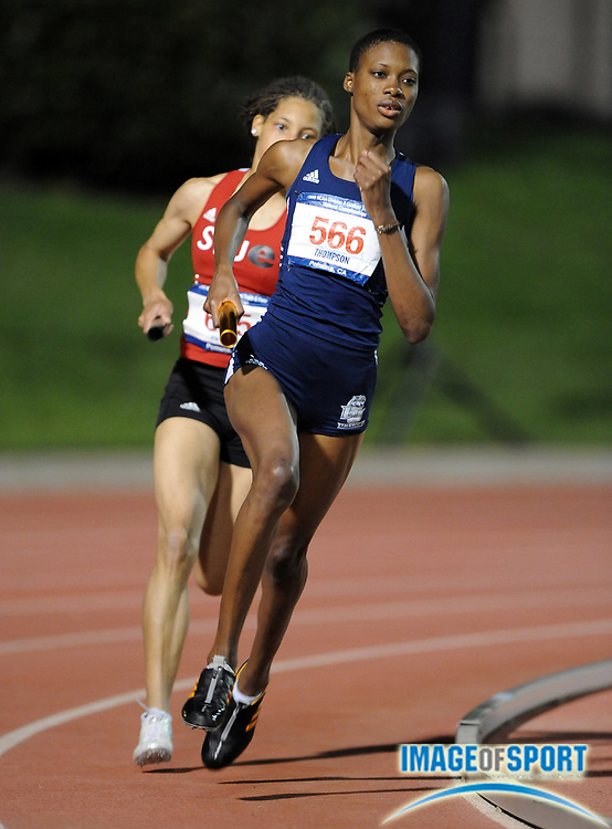 May 24, 2008; Walnut, CA, USA;  Meisha Thompson runs the third leg on Lincoln women's 4 x 400m relay that won in 3:39.70 in the NCAA Division II Track & Field Championships at Mt. San Antonio College's Hilmer Lodge Stadium.