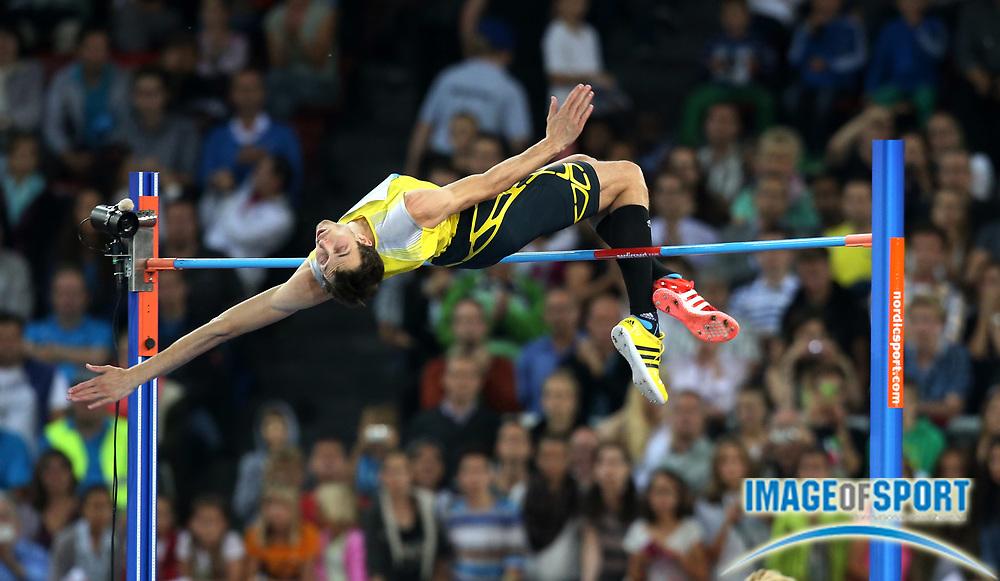 Aug 29, 2013; Zurich, SWITZERLAND; Bohdan Bondarenko (UKR) wins the high jump at 7-7 3/4 (2.33m) in the 2013 Weltklasse Zürich at Letzigrund Stadium. Photo by Jiro Mochizuki