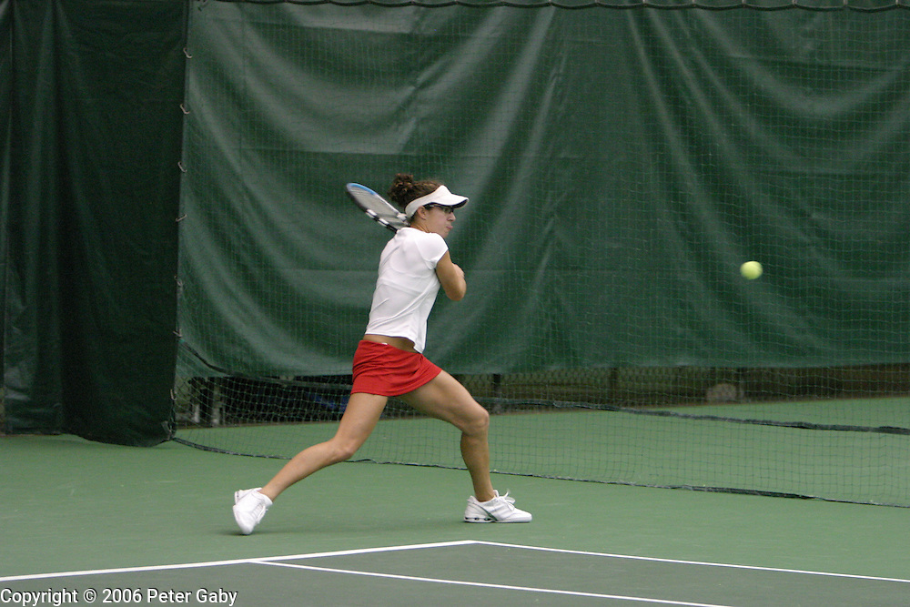 NC Freshman Austin Smith against Stanford Junior Anne Yelsey  at the 19th Annual USTA/ITANational Women's Team Indoor Championships at the Nielsen Tennis Stadium in Madison, WI. Feb. 2-5, 2006