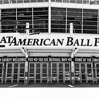 Cincinnati Great American Ball Park black and white picture of Cincinnati Great American Ball Park entrance and sign. Great American Ballpark is a sports stadium and home to the Major League Baseball team the Cincinnati Reds. The new venue replaced Riverfront Stadium (Cinergy Field) in 2003 and is named after the Great American Insurance Group company. Photo Copyright © 2012 Paul Velgos with All Rights Reserved.