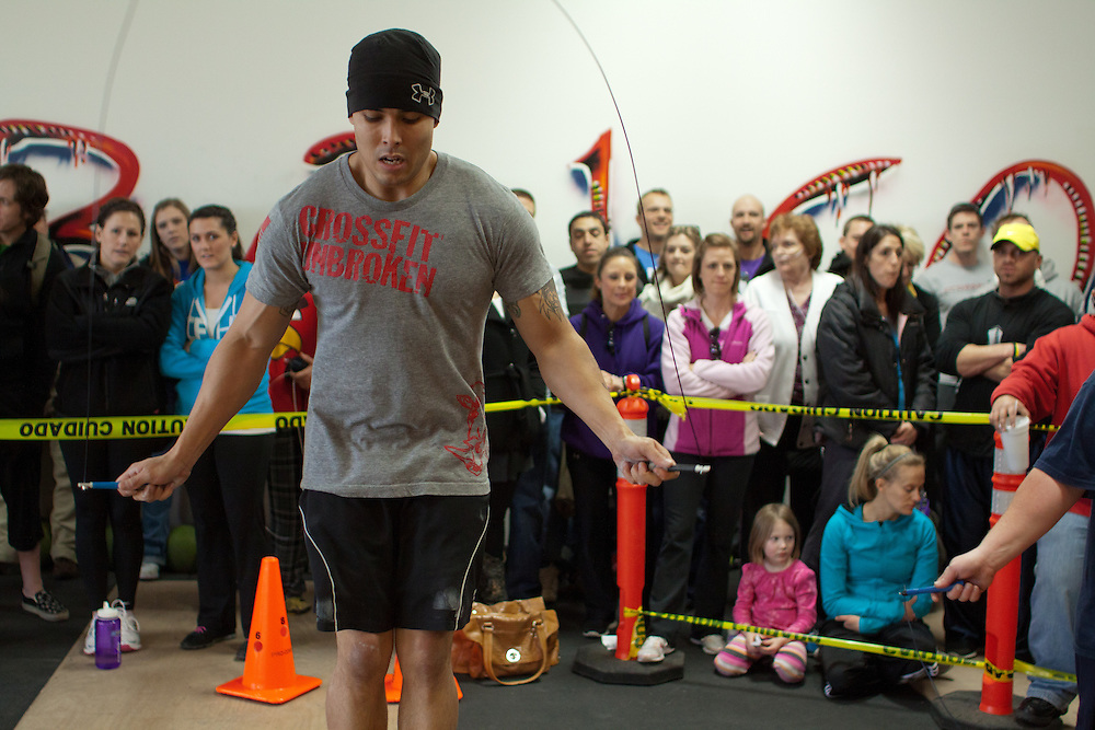 Double Unders in a crowd at the Winter WOD Fest CrossFit competition. Crossfit image, picture, photo, photography of health, elite, exercise, training, workouts, WODs, taken at Progressive Fitness CrossFit,Colorado Springs, Colorado, USA