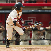 15 April 2018: San Diego State outfielder Matt Rudick (9) reaches base on a fielding error to extend the third inning. The San Diego State baseball team closed out the weekend series against Cal State Fullerton with a 9-6 win at Tony Gwynn Stadium. <br /> More game action at sdsuaztecphotos.com