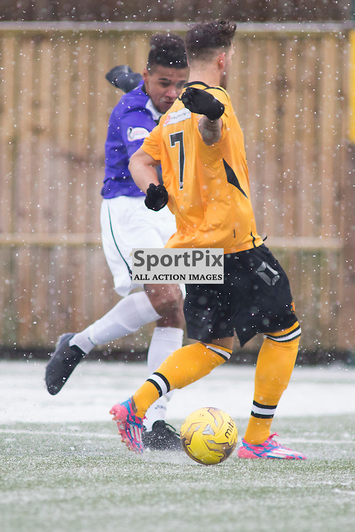 Annan Athletic v East Fife SPFL2 16 January 2016<br />Austin with a shot for East Fife, Ryan Finnie (7) defends for Annan.<br />(c) Russell G Sneddon / SportPix.org.uk