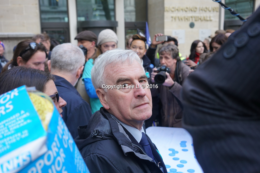 London,England,UK : 26th April 2016 : John McDonnell march to Department of Health in London. Photo by See Li