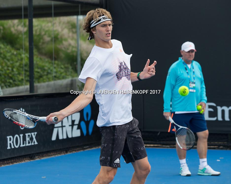 Team Zverev, Training, ALEXANDER ZVEREV (GER) und Vater Alexander Zverev Senior<br /> <br /> Tennis - Australian Open 2017 - Team-Zverev-Australian-Open-2017 -  Melbourne  Park - Melbourne - Victoria - Australia  - 14 January 2017.