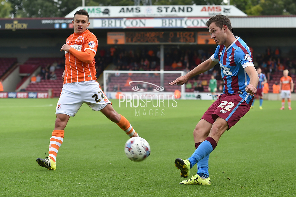 Tom Hopper  during the Sky Bet League 1 match between Scunthorpe United and Blackpool at Glanford Park, Scunthorpe, England on 5 September 2015. Photo by Ian Lyall.