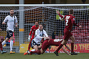 Millwall FC midfielder Edward Upson (8)  fouls Bradford City defender Anthony McMahon (29)  during the Sky Bet League 1 match between Bradford City and Millwall at the Coral Windows Stadium, Bradford, England on 26 March 2016. Photo by Simon Davies.