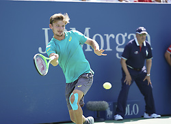 September 4, 2017 - New York, New York, United States - New York, NY USA - September 4, 2017: David Goffin of Belgium returns ball during match against Andrey Rublev of Russia at US Open Championships at Billie Jean King National Tennis Center (Credit Image: © Lev Radin/Pacific Press via ZUMA Wire)