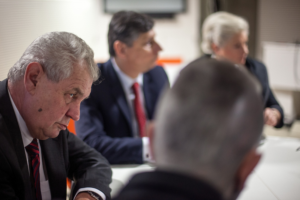 Prof. Vladimír Franz with former Prime Minister Milos Zeman before a discussion with all Czech presidential candidates at the National Technical Library in Prague Dejvice. Franz is a prominent Czech composer and painter, stage music author and also a registered candidate in the 2013 Czech presidential election.