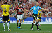10.03.2013 Sydney, Australia. The referee awards a second penalty to the Wanderers during the Hyundai A League game between Western Sydney Wanderers and Wellington Phoenix FC from the Parramatta Stadium. The Wanderers won 2-1.