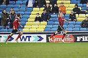 Shrewsbury Town midfielder Louis Dodds (10) celebrates scoring 0-1 during the EFL Sky Bet League 1 match between Millwall and Shrewsbury Town at The Den, London, England on 10 December 2016. Photo by Matthew Redman.