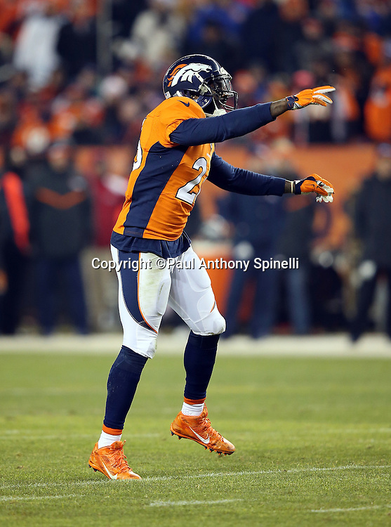 Denver Broncos free safety Darian Stewart (26) points as he yells out during the 2015 NFL week 16 regular season football game against the Cincinnati Bengals on Monday, Dec. 28, 2015 in Denver. The Broncos won the game in overtime 20-17. (©Paul Anthony Spinelli)